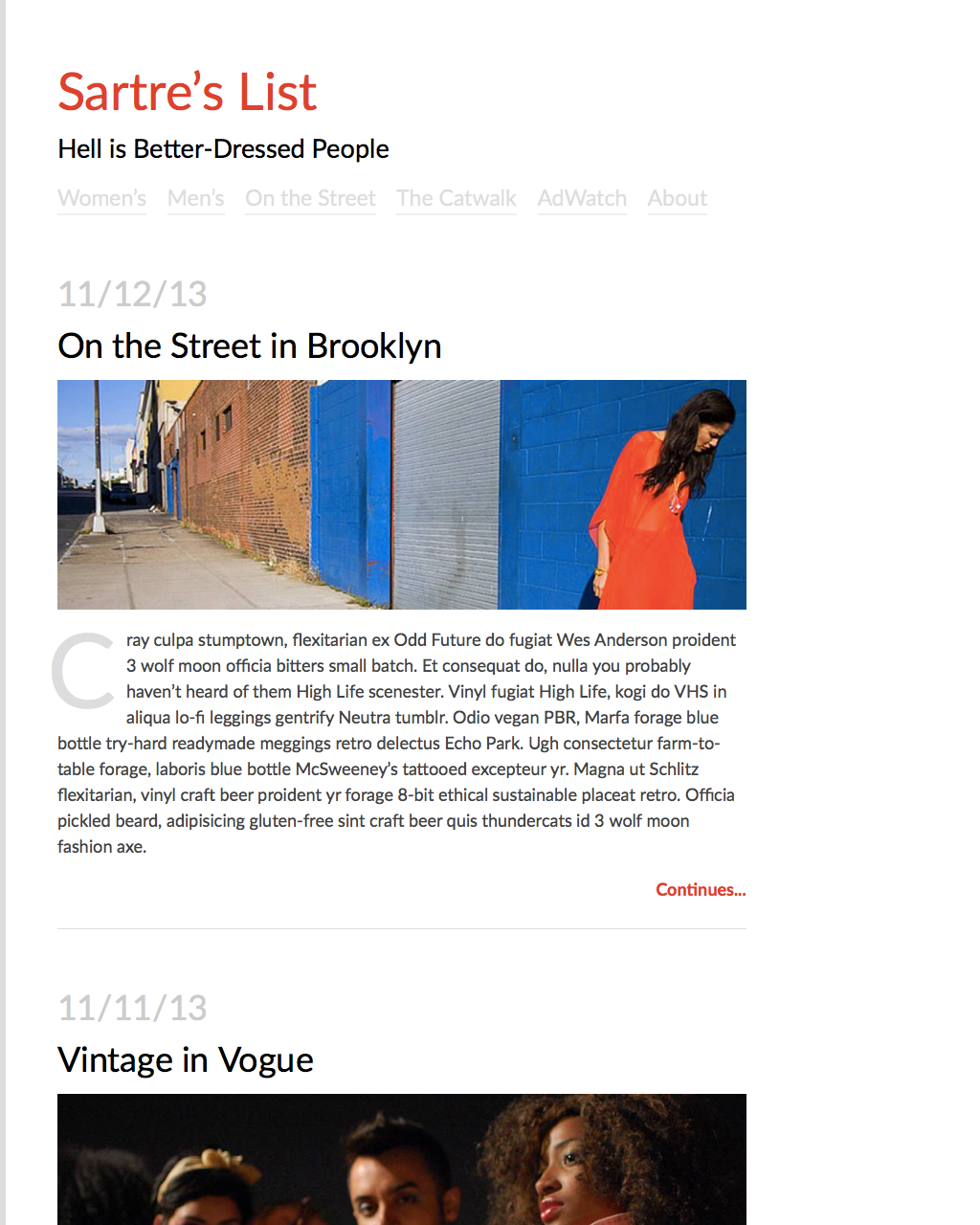 Single-column Fashion Blog Screenshot