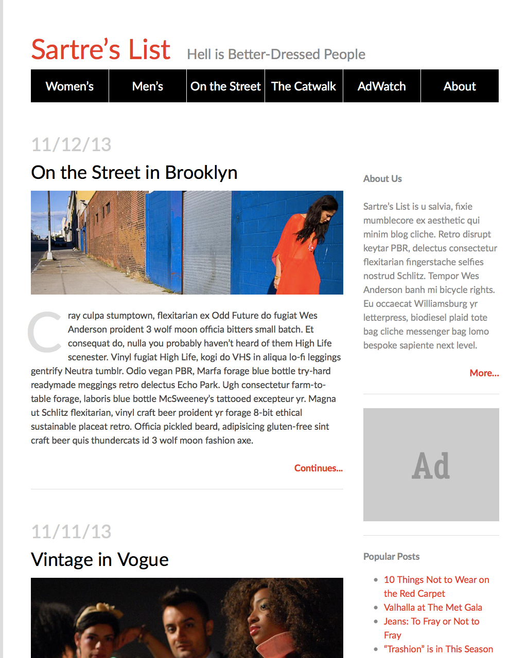 Two-column Fashion Blog Screenshot